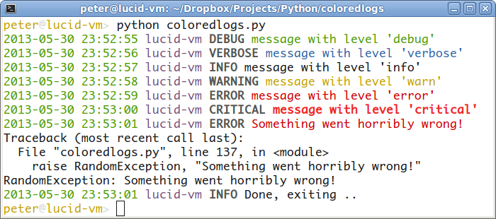 Coloredlogs Colored Terminal Output For Pythons Logging Module 731 Documentation